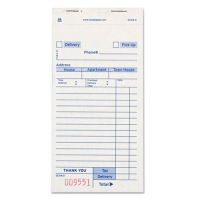 Guest Check Book, Carbonless Triplicate, 3 2/5 X 6.69, 50/book, 50/carton