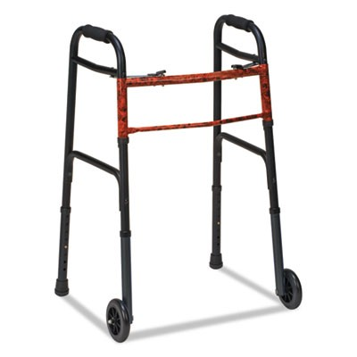 "Two-Button Release Folding Walker With Wheels, Black/copper, Aluminum, 32-38""h"