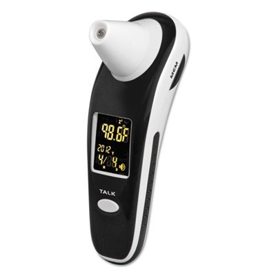 Digiscan Forehead & Ear Thermometer, Black/white, Digital/verbal Readout