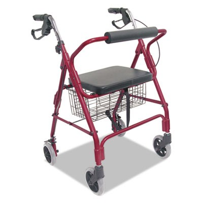 Ultra Lightweight Rollator, Burgundy, Aluminum, Adjustable