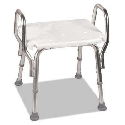 "SHOWER CHAIR, 19""W X 20""H, SUPPORTS UP TO 350 LBS., WHITE SEAT/WHITE BACK, STEEL BASE"