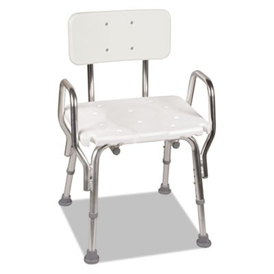 "SHOWER CHAIR, 19"" X 13"" X 20"", SUPPORTS UP TO 350 LBS., WHITE SEAT/WHITE BACK, SILVER BASE"