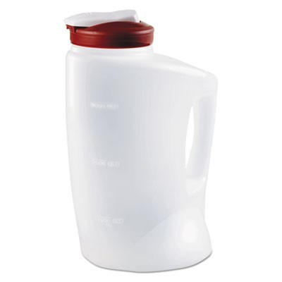 Mixermate Pitcher, 1gal, Clear/red, 4/carton