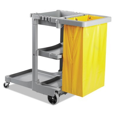 Janitor's Cart, Three-Shelf, 22w X 44d X 38h, Gray
