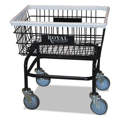 SMALL WIRE LAUNDRY CART, 21W X 26D X 26.5H, 200-LB CAPACITY, BLACK