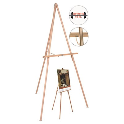 "Oak Display Tripod Easel, 60"", Wood/brass"