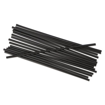"SINGLE-TUBE STIR-STRAWS, 5 1/4"", BLACK, 1000/PACK, 10/CARTON"