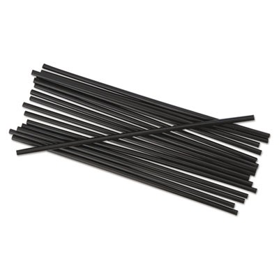 "SINGLE-TUBE STIR-STRAWS, 5 1/4"", BLACK, 1000/PACK"