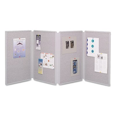 Tabletop Display Presentation Board, 72 X 30, Gray Surface, Gray Frame