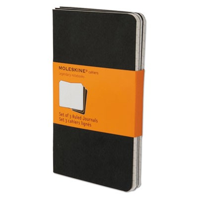CAHIER JOURNAL, NARROW RULE, BLACK COVER, 5.5 X 3.5, 64 SHEETS, 3/PACK