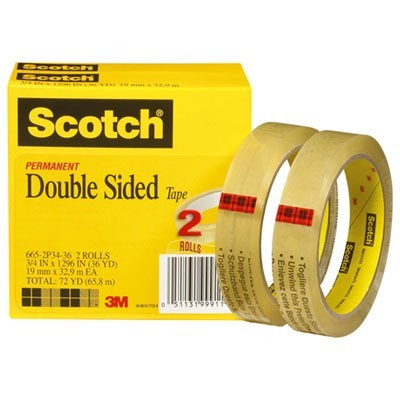 "DOUBLE-SIDED TAPE, 3"" CORE, 0.75"" X 36 YDS, CLEAR, 2/PACK"