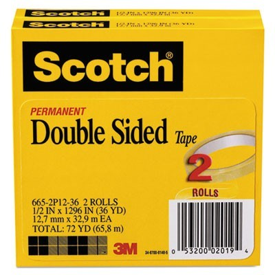 "DOUBLE-SIDED TAPE, 3"" CORE, 0.5"" X 36 YDS, CLEAR, 2/PACK"