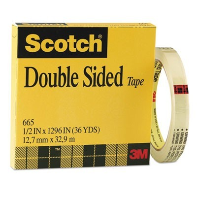 "DOUBLE-SIDED TAPE, 3"" CORE, 0.5"" X 36 YDS, CLEAR"