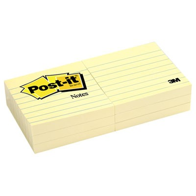 Original Pads In Canary Yellow, 3 X 3, Lined, 100-Sheet, 6/pack