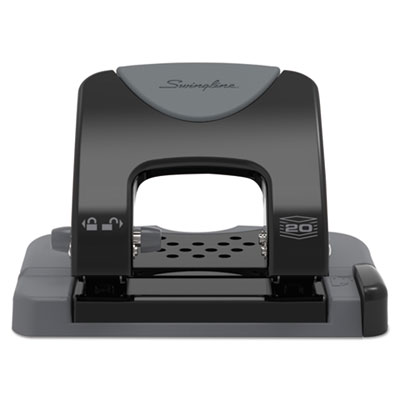 "20-Sheet Smarttouch Two-Hole Punch, 9/32"" Holes, Black/gray"