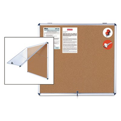 Slim-Line Enclosed Cork Bulletin Board, 47 X 38, Aluminum Case
