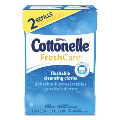 Fresh Care Flushable Cleansing Cloths, White, 3.73 X 5.5, 84/pack