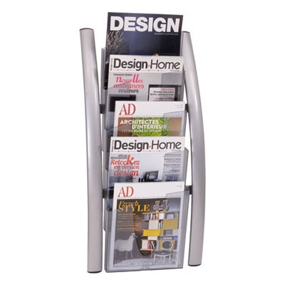 WALL LITERATURE DISPLAY, 13W X 3.5D X 28.5H, SILVER GRAY/TRANSLUSCENT