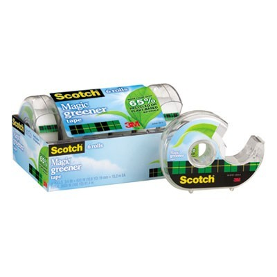 "MAGIC GREENER TAPE WITH DISPENSER, 1"" CORE, 0.75"" X 50 FT, CLEAR, 6/PACK"