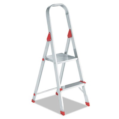 #566 Folding Aluminum Euro Platform Ladder, 2-Step, Red