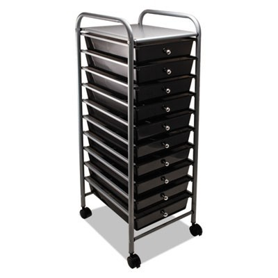 PORTABLE DRAWER ORGANIZER, 13W X 15.38D X 37.75H, SMOKE/MATTE GRAY