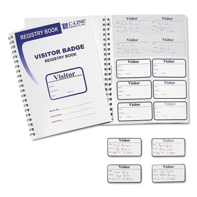 VISITOR BADGES WITH REGISTRY LOG, 3 1/2 X 2, WHITE, 150 BADGES/BOX