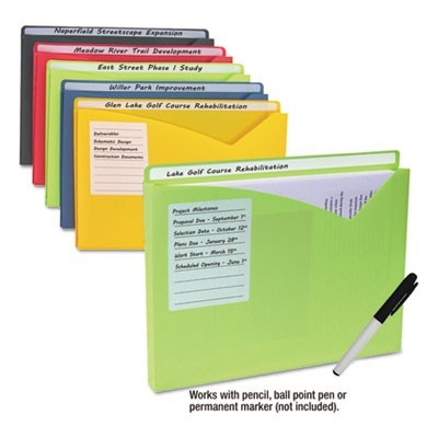 WRITE-ON POLY FILE JACKETS, STRAIGHT TAB, LETTER SIZE, ASSORTED COLORS, 10/PACK