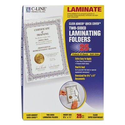 "QUICK COVER LAMINATING POCKETS, 12 MIL, 9.13"" X 11.5"", GLOSS CLEAR, 25/BOX"