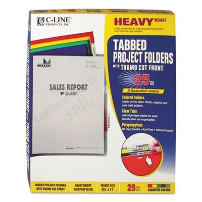 HEAVYWEIGHT PROJECT FOLDERS WITH INDEX TABS, 1/5-CUT TAB, LETTER SIZE, ASSORTED COLORS, 25/BOX