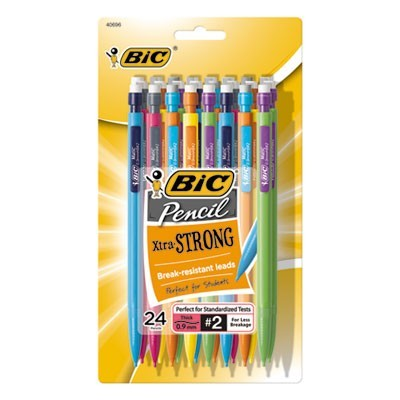 XTRA-STRONG MECHANICAL PENCIL, 0.9 MM, HB (#2.5), BLACK LEAD, ASSORTED BARREL COLORS, 24/PACK