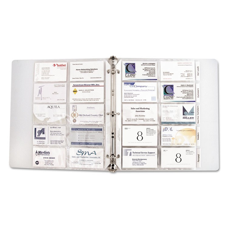Business Card Binder Pages, Holds 20 Cards, 8 1/8 X 11 1/4, Clear, 10/pack