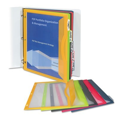 BINDER POCKET WITH WRITE-ON INDEX TABS, 9.69 X 11.19, ASSORTED, 5/SET