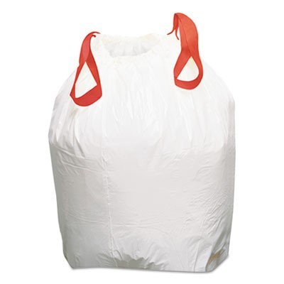 "DRAWSTRING LOW-DENSITY CAN LINERS, 13 GAL, 0.8 MIL, 24.5"" X 27.4"", WHITE, 100/CARTON"