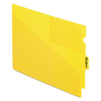 COLORED POLY OUT GUIDES WITH CENTER TAB, 1/3-CUT END TAB, OUT, 8.5 X 11, YELLOW, 50/BOX