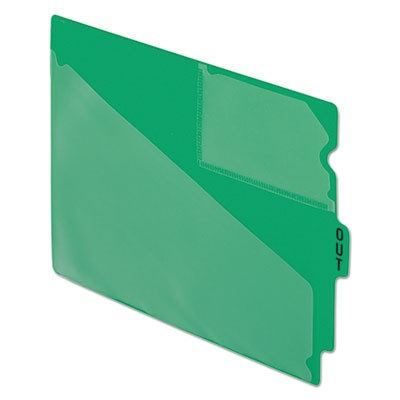 COLORED POLY OUT GUIDES WITH CENTER TAB, 1/3-CUT END TAB, OUT, 8.5 X 11, GREEN, 50/BOX