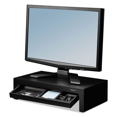 Adjustable Monitor Riser With Storage Tray, 16 X 9 3/8 X 6, Black Pearl