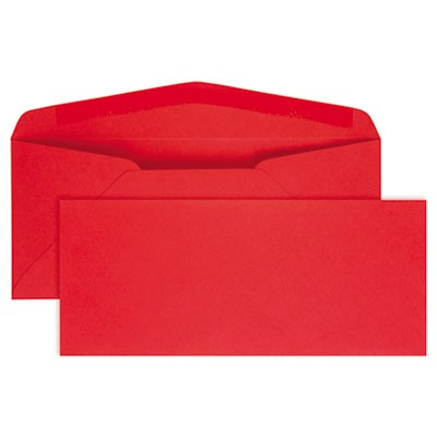 COLORED ENVELOPE, #10, BANKERS FLAP, GUMMED CLOSURE, 4.13 X 9.5, RED, 25/PACK