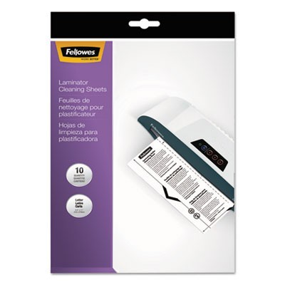 "LAMINATOR CLEANING SHEETS, 3 TO 10 MIL, 8.5"" X 11"", WHITE, 10/PACK"