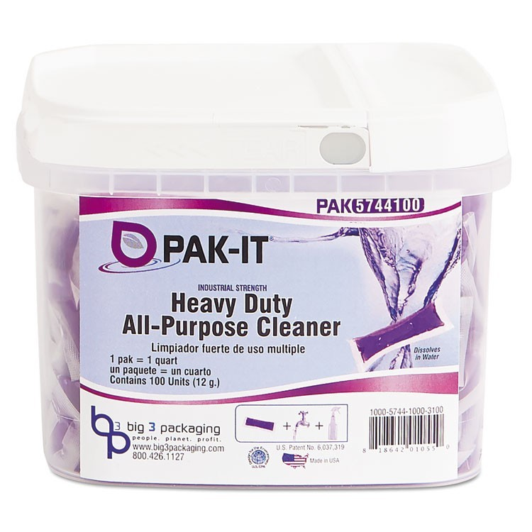 Heavy-Duty All-Purpose Cleaner, Pleasant Scent, 100 Pak-Its/tub, 4 Tubs/ct