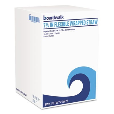 "FLEXIBLE WRAPPED STRAWS, 7 3/4"", WHITE, 500/PACK, 20 PACKS/CARTON"