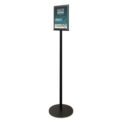 "DOUBLE-SIDED MAGNETIC SIGN DISPLAY, 8 1/2 X 11 INSERT, 56"" TALL, CLEAR/BLACK"
