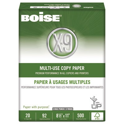 X-9 MULTI-USE COPY PAPER, 92 BRIGHT, 3-HOLE, 20LB, 8.5 X 11, WHITE, 500 SHEETS/REAM, 10 REAMS/CARTON