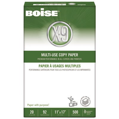 X-9 MULTI-USE COPY PAPER, 92 BRIGHT, 20LB, 11 X 17, WHITE, 500 SHEETS/REAM, 5 REAMS/CARTON