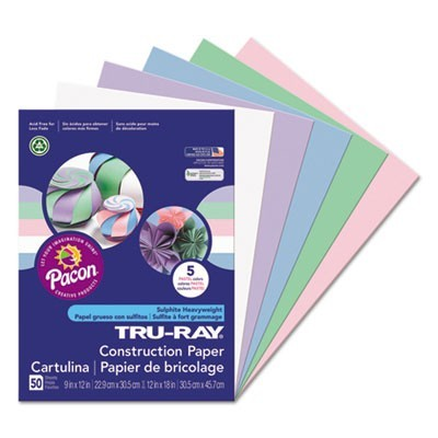 TRU-RAY CONSTRUCTION PAPER, 76LB, 9 X 12, ASSORTED PASTEL COLORS, 50/PACK