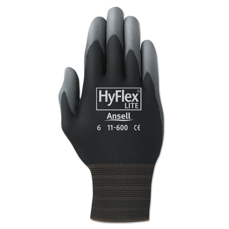 Hyflex Lite Gloves, Black/gray, Size 8, Dozen