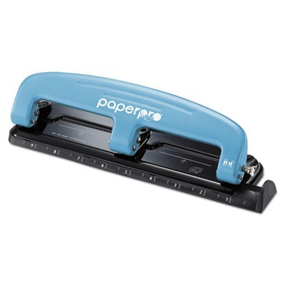 EZ SQUEEZE THREE-HOLE PUNCH, 12-SHEET CAPACITY, BLUE/BLACK