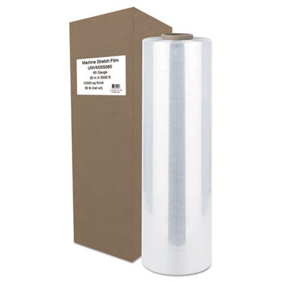 "Machine Stretch Film, 30"" X 5000 Ft, 15.2mic, Clear"