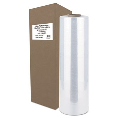 "High-Performance Machine Stretch Film, 20"" X 9000 Ft, 16mic, Clear"