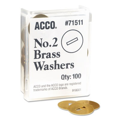 "Washers For Two-Piece Paper Fasteners, 1/2"" Cap, 1 1/4"" Diameter, Gold, 100/box"