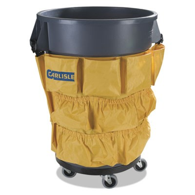 BRONCO WASTE CONTAINER CADDY BAG, 12 POCKET, 31W X 19.75H, YELLOW, 12/CARTON